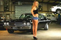 Sexy model with 1969 Chevelle – Fast & Sexy Chevy Chevelle Ss, Camaro Ss, Chevy Girl, Chevy Muscle Cars, Daisy Dukes, Sweet Cars, Hot Rides, Us Cars, Car Girls