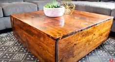This DIY square farmhouse coffee table tutorial is a great place to start if you've never built furniture before. You only need a few tools and basic materials and you'll have a homemade coffee table of your own in no time. Homemade Coffee Tables, Build A Coffee Table, Old Coffee Tables, Coffee Table Design, Square Coffee Tables, Diy Storage Coffee Table, Live Edge Furniture, Wood Furniture, Farmhouse Furniture