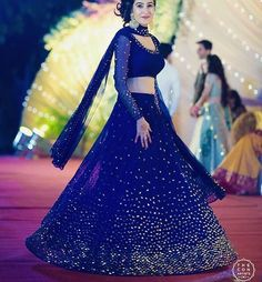 9 Breathtaking Blue Lehenga Designs That Have Us Floored Indian Lehenga, Indian Gowns, Indian Attire, Net Lehenga, Anarkali, Indian Wedding Outfits, Bridal Outfits, Bridal Dresses, Lehenga Choli Designs