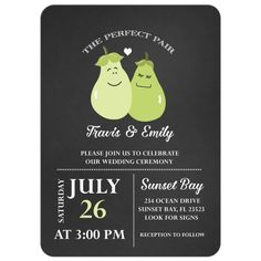 "Cute ""a perfect pair"" cartoon pear chalkboard wedding invitation. A unique design for a the right couple."
