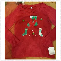 Pretty Ugly Christmas Sweater Red NWT L John Paul Richard new with tags red sweater that I've added bling to for your Ugly Cmas sweater party! The stockings in the middle unzips and the pins have an on/off switch for disco blinking!  The sweater is on the thin side.  I would personally wear something under it.  The braiding at the top is very cute!  Please note that the ornaments cannot be removed so washing by hand and spot cleaning are necessary. John Paul Richard  Sweaters Crew & Scoop…