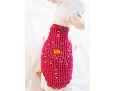 Pink Rhinestones Dog Clothes with Pearls, Unique Gift for Pet, Handmade Crochet Chihuahua Puppy Sweater DF23 by Myknitt - Free Shipping
