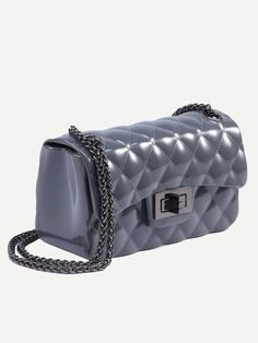 122b6c7ec7 Grey Faux Patent Leather Quilted Chain Bag -SheIn(Sheinside) Mobile Site