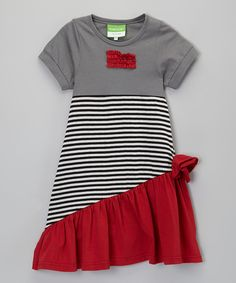 Look at this Gray & Red Stripe Bow Dress - Toddler & Girls on #zulily today!