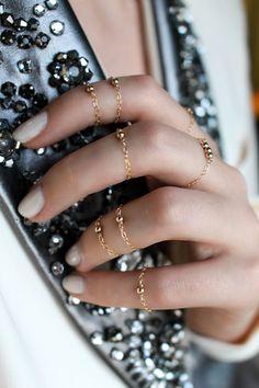 14k anneau de la chaîne boule rempli d'or ensemble par JewelHopes