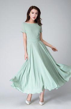 bd8ad580b30aa Mint chiffon dress, maxi dress women, bridesmaid dress, summer dress, fit  and flare dress, formal dress, womens dress, evening dress 1521