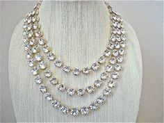 3 Strand Chunky Crystal Bridal Statement Necklace - Swarovski crystal 11mm diamond cut stones