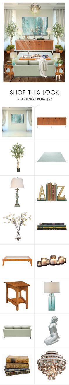 """Welcoming Retreat"" by fowlerteetee ❤ liked on Polyvore featuring interior, interiors, interior design, home, home decor, interior decorating, Ready2hangart, Knoll, Nearly Natural and ESPRIT"