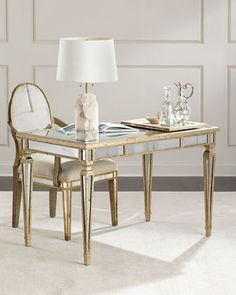 Shop Zamora Mirrored Writing Desk at Horchow, where you'll find new lower shipping on hundreds of home furnishings and gifts. Small Office Desk, Home Office Desks, Home Office Furniture, Furniture Making, Mirrored Vanity Desk, Mirrored Furniture, Glass Furniture, Mirror Writing, Writing Desk