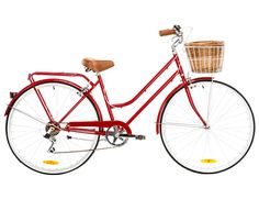 Reid Vintage Classic Ladies Bike with Basket - Cherry Red Retro Bicycle, Vintage Bicycles, Dutch Bicycle, Ladies Bike With Basket, Bike Equipment, Vintage Stil, Bike Accessories, Cycling Bikes, Worlds Of Fun