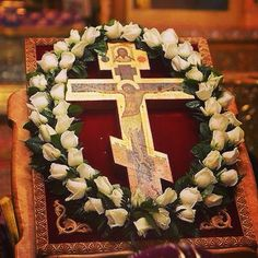 stsavaway's photo on Instagram Church Flowers, Funeral Flowers, Fresh Flowers, White Flowers, Happy Feast Day, Funeral Flower Arrangements, Greek Easter, Crucifix, Christianity