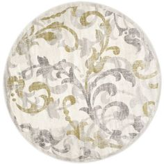 Zoxoro.com.au | Safavieh Amherst Collection AMT428E Ivory and Light Grey Indoor/ Outdoor Round Area Rug, 7 feet in Diameter (7' Diameter)