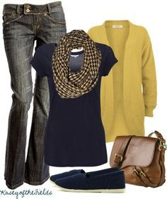 Not fond of the mustard color sweater but I like the overall effect of the boot cut jeans, slim top and longer sweater.