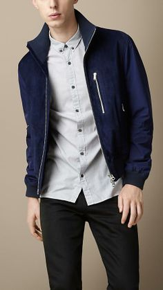 Burberry London Suede Blouson With Contrast Sleeves