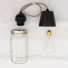 KIT DIY - LA SUSPENSION MASON JAR Deco Luminaire, Mason Jar Lamp, Diy Kits, Table Lamp, Decor, Pendant Light Fitting, Decoration, Decorating, Arts And Crafts Kits