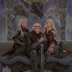 Game of Thrones: The Targaryens circa 1 AC by Raymond Waskita Arte Game Of Thrones, Game Of Thrones Artwork, Game Of Thrones Books, Game Of Thrones Fans, Got Dragons, Mother Of Dragons, Winter Is Here, Winter Is Coming, Fanart