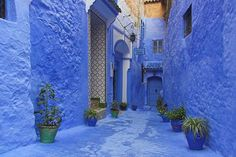 Chefchaouen, Northwest Morocco Chefchaouen is best known for its blue buildings, painted in a spectrum of soothing hues. If you want to escape the city, make sure to check out the nearby Rif mountains and the Cascades d'Akchour!