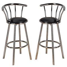 New Indoor Set of 4 Chrome Swivel Black Vinyl Seat Pub Bar Stools Chair Barstool #AD #Casualswivelchairbarstools