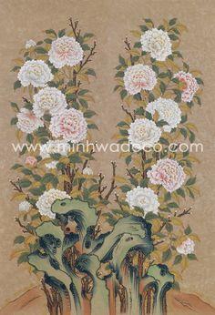 화훼도 - 1004 모란 가리개 Korean Painting, Chinese Painting, Chinese Art, Korean Art, Asian Art, New China, Botanical Art, Traditional Art, Flower Art