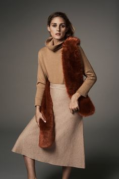 Olivia Palermo wears Faux Fur Pull Through Scarf for 2016 lookbook