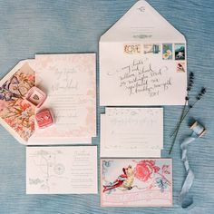 Loving this woodland #letterpress invitation suite by @luckyluxedesign along with all the pretty vintage stamps! See more from this pretty pastel Colorado wedding today #onGWS {direct link in profile} Thx to photos: @lauramurray // planning design: @avintageaffaircolorado // florals: @barerootflora // cakes: @intricateicings // venue: @crookedwillowevents #coloradowedding #weddinginvitations #vintagestamps by greenweddingshoes