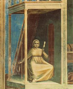 Giotto: No. 3 Scenes from the Life of Joachim: 3. Annunciation to St Anne (detail) 1304-06 Fresco, width of detail 89,5cm Cappella Scrovegni (Arena Chapel), Padua