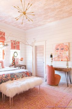 A Little HomeGoods Christmas Decor in Addison's Coral Girl's Bedroom... Sharing a tour of a little young girl's fun coral and white bedroom featuring fun Holiday decorations from HomeGoods! Sponsored by HomeGoods. alabaster-shiplap-whitewashed-hardwoods-wallpaper-ceiling-canopy-bed-roman-shades-peach-rose-quartz-doors