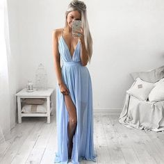 Sexy Deep V Neck Light Blue Chiffon Prom Dresses 2016 High Thigh Slit See Through Evening Occasion Gowns Long Party Wears Under$80 High Street Prom Dresses Junior Prom Dresses Uk From Whiteone, $77.14| Dhgate.Com
