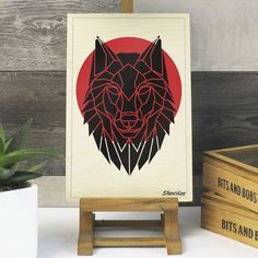 Geometric Wolf Print on Plywood, Cool Animal Graphic, Origami ...