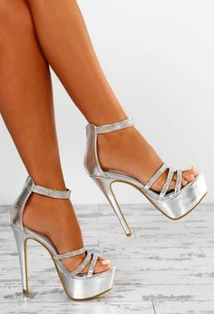 Shop for Hollywood Vixen Silver Diamante Strap Platform Heels by Pink Boutique at ShopStyle. Beautiful High Heels, Sexy High Heels, Homecoming Shoes, Homecoming Dresses, Stiletto Heels, Shoes Heels, Manolo Blahnik Heels, Prom Heels, Silver Heels