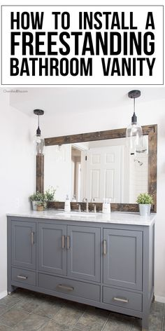 Are you ready for a bathroom remodel? These tips will assist in teaching you how to install a freestanding bathroom vanity. Ready for a bathroom Bathroom Vanity Tops, Bathroom Cabinets, Modern Bathroom, Condo Bathroom, Relaxing Bathroom, Bathroom Bin, Mirror Bathroom, Industrial Bathroom, Master Bathrooms
