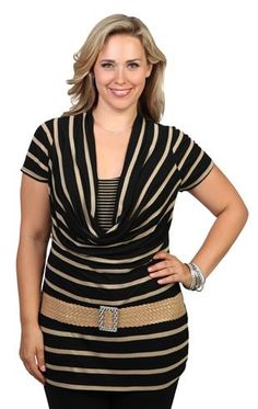 plus size short sleeve striped 2fer with cowl neck and half belt
