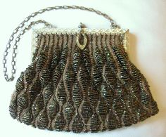 Clever Antique Art Nouveau Gold Filigree Frame Hand Knit Brown Iridescent Bead Purse Bags, Handbags & Cases