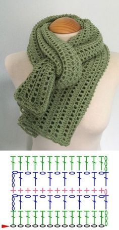Crochet Scarf Diagram, Crochet Blanket Patterns, Crochet Motif, Crochet Shawl, Crochet Stitches, Crochet Men, Crochet Collar, Crochet Scarves, Crochet Clothes