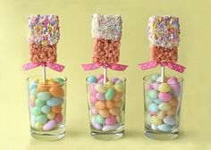 If you can make Rice Krispies treats, you can make these Easter party Rice Krispies treat pops dipped in chocolate...yummy!
