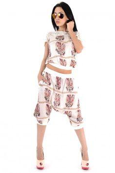 Trening Dama Casual Scurt Bej Cu Imprimeu Deosebit Online Shopping For Women, Rompers, Clothes For Women, Casual, Pants, Dresses, Fashion, Outerwear Women, Trouser Pants