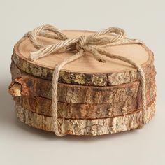 Wood Bark Coasters, Set of 4 | World Market