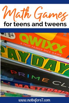 Math Games Your Teens and Tweens will Actually Enjoy. A list of our favorite math games that even the teens adn tweens enjoy playing. Perfect for gameschooling math. - Homeschooling with Mary Hanna Wilson Educational Board Games, Math Board Games, Homeschool High School, Homeschool Math, Homeschooling, Homeschool Supplies, Math Skills, Math Lessons, Math Class