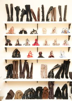 The Coveteur x Adrienne Maloof.   the poor boots need some assistance standing upright. If u can afford all these shoes, you can splurge on boot inserts to Jeep then from flopping