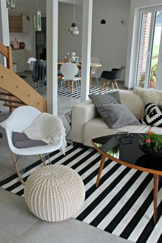 Via So Leb Ich   Eames Rocker and Daw Chair   Black and White   Ikea PS Cushion