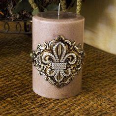 Decor  Swarovski Pillar Candle Fleur de Lis Embellishment
