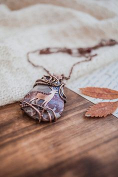 Jasper pendant with copper deer - wire stone jewelry