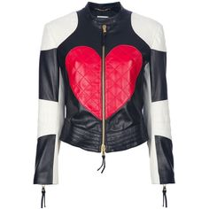 MOSCHINO 'Heart & Peace' biker jacket ($1,965) ❤ liked on Polyvore featuring outerwear, jackets, coats, tops, motorcycle jacket, moto jacket, genuine leather jacket, zipper leather jacket and leather motorcycle jacket