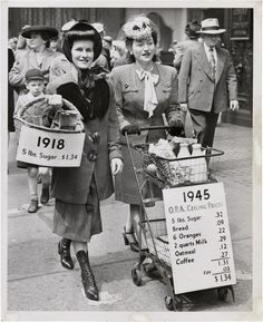 """""""With the world at war, increased demand for food was expected to cause inflation. The Office of the Price Administration was established to place ceilings on prices and to ration items that became scarce. These stylish ladies demonstrated what $1.34 bought in 1918 and 1945, thanks to price controls."""""""