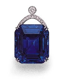 AN IMPRESSIVE SRI LANKAN SAPPHIRE AND DIAMOND PENDANT  Price realised  HKD 2,465,000 USD 317,586 Estimate HKD 950,000 - HKD 1,200,000 (USD 122,396 - USD 154,606)