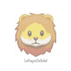Modern cross stitch pattern lion emoji - PDF Instant download. by LeRayonDeSoleil on Etsy