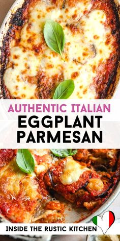 Eggplant Parmesan - Authentic Italian Recipe - Eggplant Parmesan (Parmigiana di Melanzane) is the ultimate comfort food recipe. Fried eggplant baked in a dish with tomato sauce, basil, parmesan and mozzarella cheese. Italian Soup Recipes, Italian Dishes, Vegetarian Recipes, Cooking Recipes, Healthy Recipes, Italian Eggplant Recipes, Easy Comfort Food Recipes, Italian Meals, Veggie Dishes