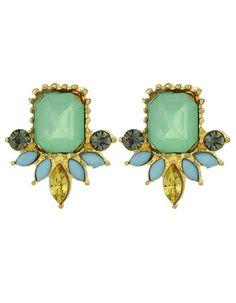 Small Green Gemstone Women Stud Stone Earrings 4.09