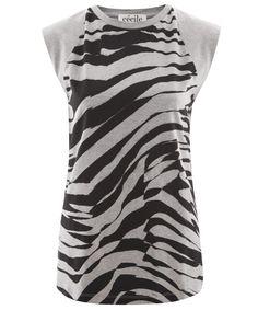 Être Cécile, Grey Zebra Print T-Shirt, £70.00.