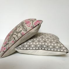 Hand printed on linen, these cushions have antique effect zips but are nothing short of contemporary Textile Prints, Textiles, Bed Pillows, Cushions, Contemporary, Printed, Antiques, Design, Pillows
